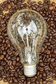 Coffee Beans And Light Bulbs On Vintage Linen Background