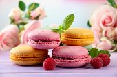 Gentle macaroons on table on light background