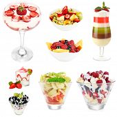 Fruit dessert collage, isolated on white