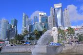 Singapore Skyline and Merlion