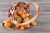 Physalis fruits in wicker basket, on wooden background