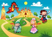 Medieval Age - Princess, Prince, Dragon, Magician.
