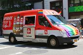Illy's coffee van durinng LGBT Pride Parade  in New York City