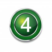 4 Number Circular Vector Green Web Icon Button