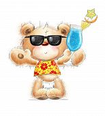Cute Teddy bear with the cocktail in the summer glasses and Hawaiian shirt