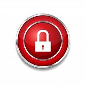 Protected Circular Red Vector Web Button Icon