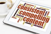 consistent, compelling content -  recommendation for bloging and social media marketing - a word clo