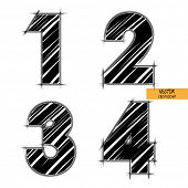 art sketched set of vector character classic black fonts, figures 1, 2. 3. 4