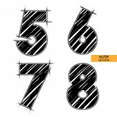 art sketched set of vector character classic black fonts, figures 5, 6, 7, 8
