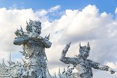 White Giant Statue At Wat Rong Khun