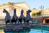 Fountain With Horses On Manezh Square In Moscow