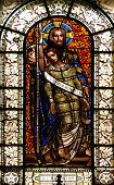 PARIS, FRANCE - NOV 10, 2012: Savior, stained glass, Saint-Vincent-de-Paul Church (design Jean-Bapti