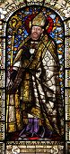 PARIS, FRANCE - NOV 10, 2012: Saint Francis de Sales, stained glass, Saint-Vincent-de-Paul Church (d