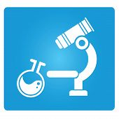 stock photo of electrophoresis  - laboratory tube and microscope in blue square button - JPG