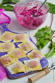 Cooking homemade pasta ravioli