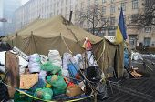 KIEV, UKRAINE - FEB 11, 2014:Vandalism in downtown. Kiev under occupation of peasants from Western U