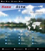 vector web template with blurry landscape, for various business