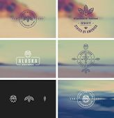stock photo of bundle  - Trendy Retro Vintage Insignias Bundle - JPG