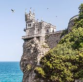 View Of The Swallow's Nest And Soaring Gulls In Crimea