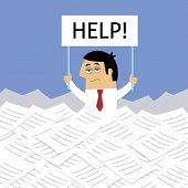 image of overwhelming  - Business life workaholic worker overloaded under papers with help sign vector illustration - JPG