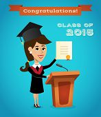foto of tribunal  - Graduating woman with graduation diploma near tribune with microphone vector illustration - JPG