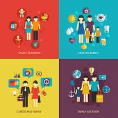 stock photo of family planning  - Business concept flat icons set of family planning health career and vacation infographic design elements vector illustration - JPG