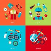Bicycle icons flat set