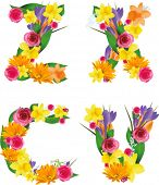 Vector colorful flower font. Check my portfolio for other letters.