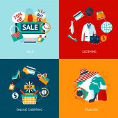 Shopping clothing flat icons set
