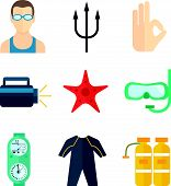 Diving icons flat
