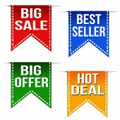 Big Sale, Best Seller, Big Offer And Hot Deal Ribbons