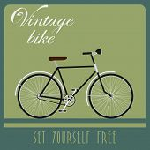 Vintage card of black bicycle in retro style