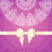 Pink vector romantic vintage wedding invitation