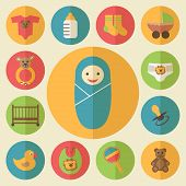 Baby goods vector icons set
