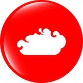 White Cloud On Internet Icon Isolated On White