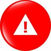 Glossy Web Button With Attention Warning Sign. Rounded Square Shape Icon With Shadow And Reflection