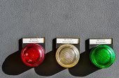 industrial electrical switch panel , Push button on control panel of controller with shade