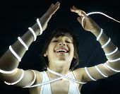 Portrait of kid with led strip light concept