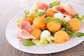 salad with melon,prosciutto and mozzarella