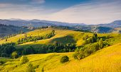 Majestic sunny hills under morning sky with clouds. Carpathian, Ukraine, Europe.