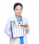 Doctor with optometry chart and glasses