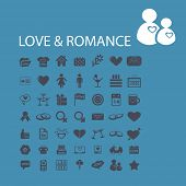 love, romance, wedding, family, couple icons, signs, symbols set, vector