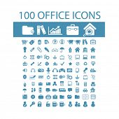 100 office, document, computer, work icons, signs, symbols set, vector