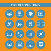 cloud network, cloud computing icons, signs, symbols set, vector
