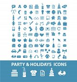 100 party, holidays, Christmas, vacation, celebration icons, signs, symbols set, vector