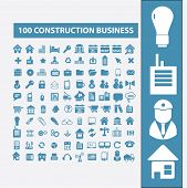 100 construction, business, factory, industry icons, signs, symbols set, vector