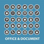 office, document, business icons, signs, symbols set, vector