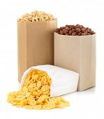 cereal corn mix in paper bag isolated on white background