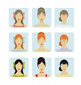 Girl faces icon set