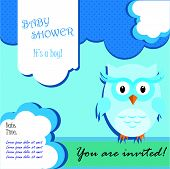 Baby shower card design with owl